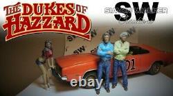 1/18 PAIR of custom painted resin figures DUKES OF HAZZARD BO & LUKE DUKE