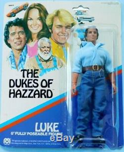 1981 DUKES OF HAZARD 8 Mego LUKE, BO, DAISY & BOSS HOGG all NRFCs & unpunched