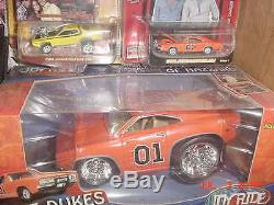 9 Dukes of Hazzard General Lee Charger Lot-Joy Ride, Slot, Bump & Go Car with Flag