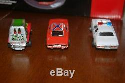 Auto World Dukes of Hazzard Curvehuggers Slot Car Racing Set Used 3 cars