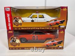 Autoworlds'69 Dodge Charger General Lee & 1975 Dodge Menance Police Car 118
