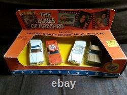Dukes of Hazzard General Lee 1981 ERTL 1/64 4 Car Set Cadillac, Cop Car, Truck