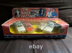 Dukes of Hazzard General Lee 1981 ERTL 1/64 4 Car Set with Daisy's Jeep, Cop Cars