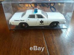 Johnny Lightning Dukes of Hazzard James Best Autograph Dodge Monaco rosco patrol