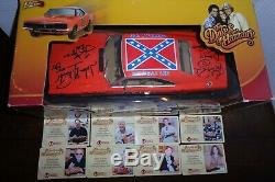 The Dukes of Hazzard 8X Cast Autographed Die-Cast 118 General Lee CA COA OOP