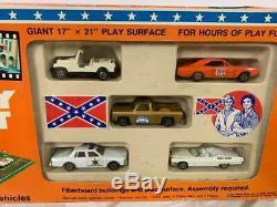 Vintage 1981 Dukes of Hazzard Play Set withOriginal Box and 5 Car Set ERTL