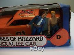 Vintage 1981 Mego Dukes of Hazzard General Lee 3 3/4 + Bo & Luke Action Figures